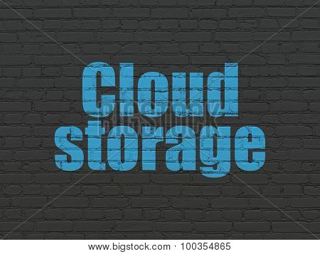 Cloud technology concept: Cloud Storage on wall background