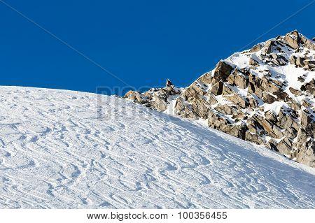 Powder Snow With Ski Tracks