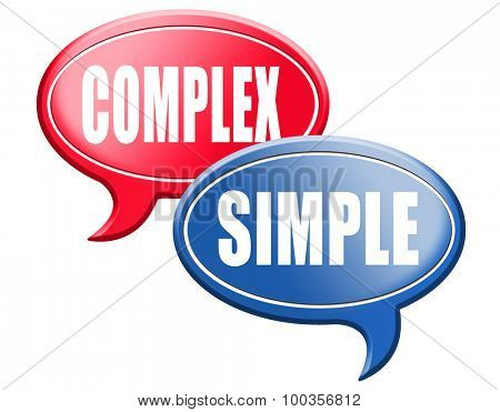 simple or complex keep it easy or simplify solve difficult problems with simplicity or complex solution no difficulty