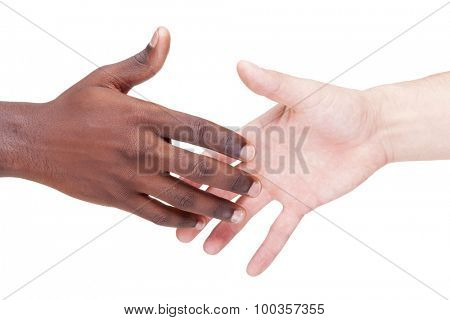 Image of a caucasian and african man shaking hands, isolated on white background