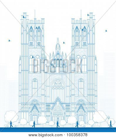 Outline building of the Cathedral of St Michael and St Gudula in the center of Brussels, Belgium