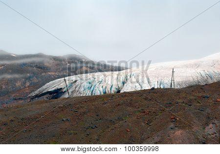 Ending Of Sliding Down Of The Mountain Elbrus Glacier