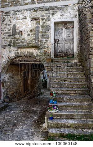 Old Stone City Street In Oprtalj, Istria, Croatia