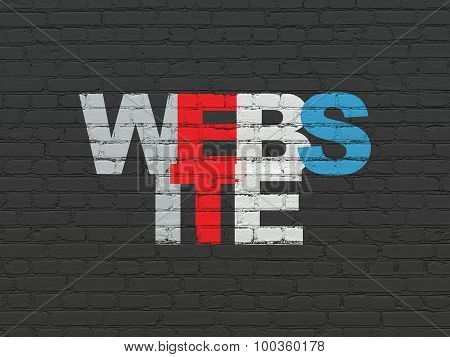 Web development concept: Website on wall background