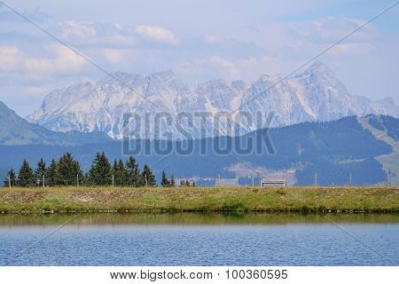 Idyllic Summer Landscape With Lake In The Moutains Alps