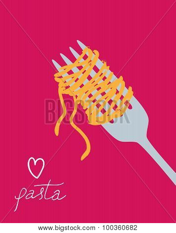 Vector drawn spaghetti on the fork.