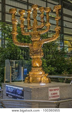 Menorah at international airport Ben Gurion