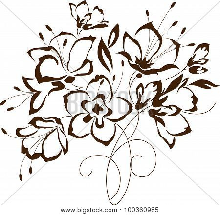Floral Design, Bouquet Of Stylized Flowers