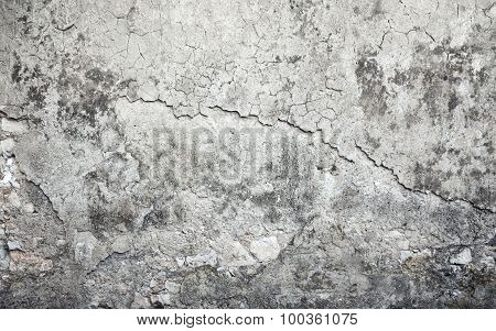 Old Weathered Concrete Wall With Damages