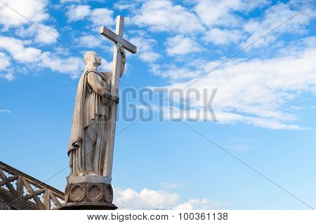 Jesus Christ Statue With Cross. Gaeta, Italy