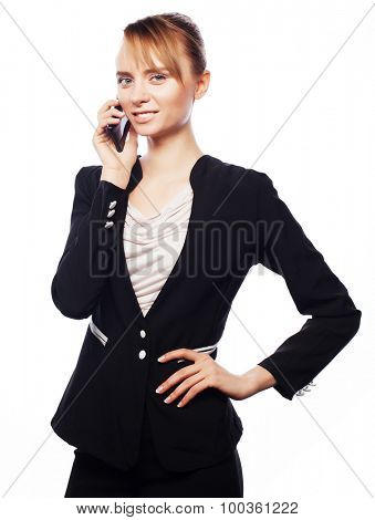 Business, people and office concept: young business woman with mobile phone. Positive emotion.Isolated on white.