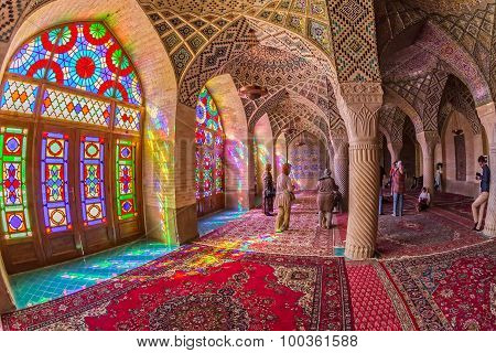 Tourists in the Nasir Al-Mulk Mosque in Shiraz