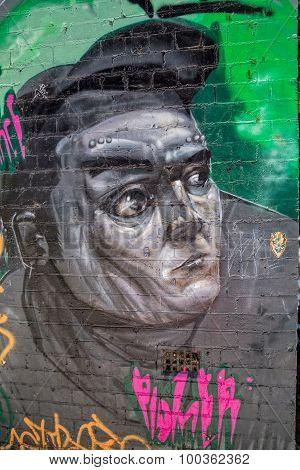 Melbourne graffiti gray portrait