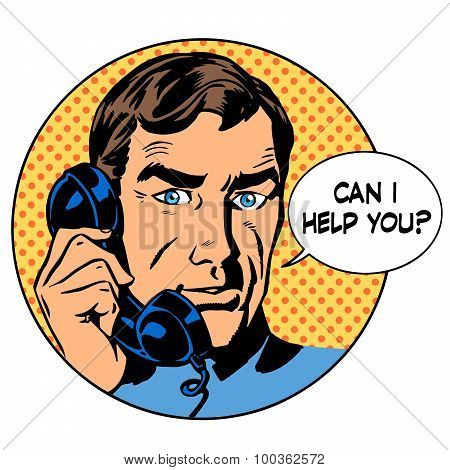 Can i help you man phone question online support business concep