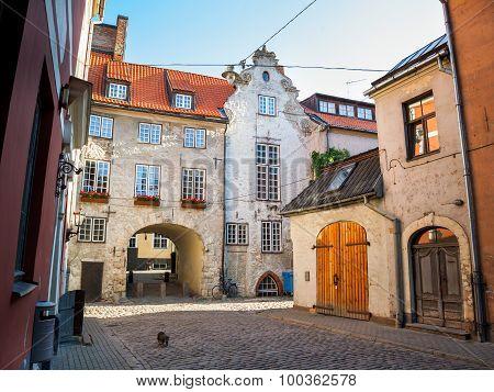 Morning Street In The Old City Of Riga, Latvia
