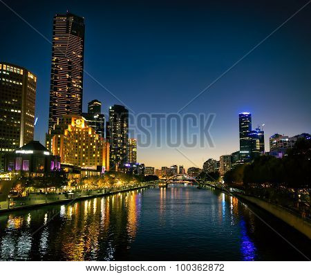 Melbourne Southbank at twilight