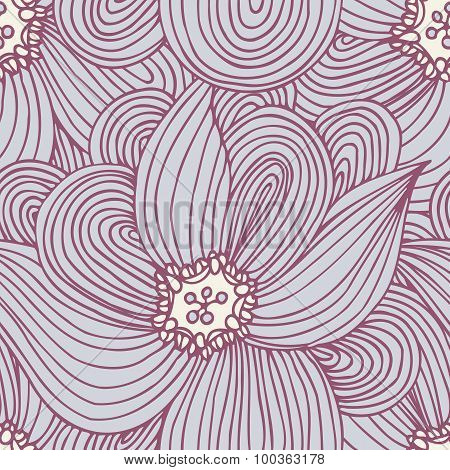 Doodle Flower Seamless Pattern. Floral Textile Background. Fashionable Doodle Print