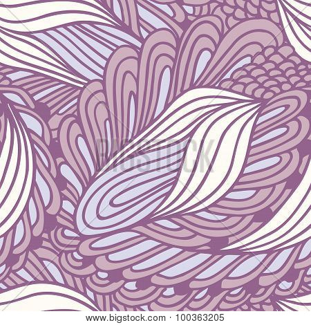 Hand Drawn Abstract Fashion Seamless Pattern. Doodle Swirl Background. Ink Style Backdrop