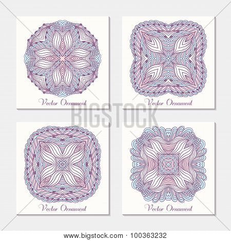 Hand Drawn Ethnic Ornament. Set Of Cards Template With Mandala. Geometrical Doodle Pattern