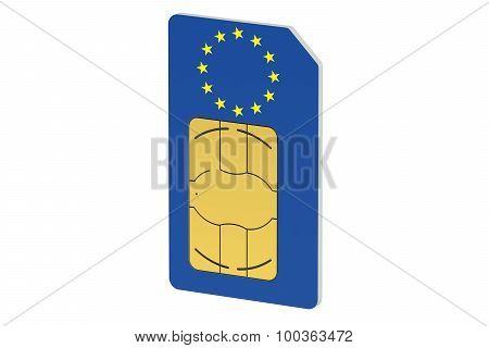 Sim Card With Flag Of European Union