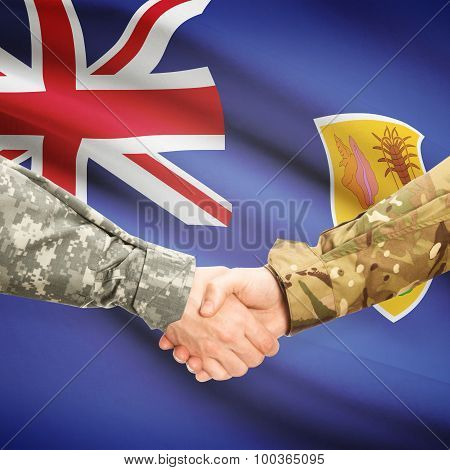 Men In Uniform Shaking Hands With Flag On Background - Turks And Caicos Islands