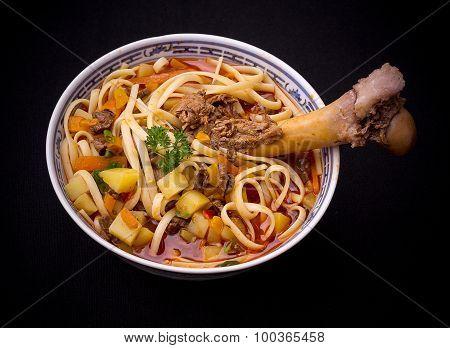 Noodle Soup Lagman, Large Bone, Top View