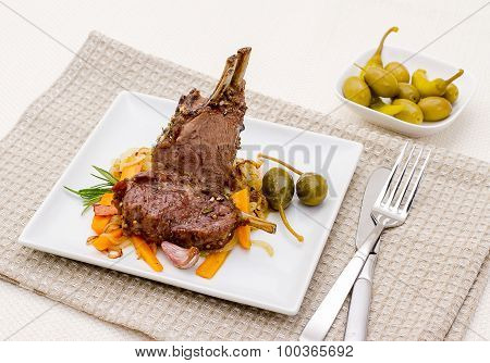 Grilled Rack Of Lamb With Carrot Onion, Garlic