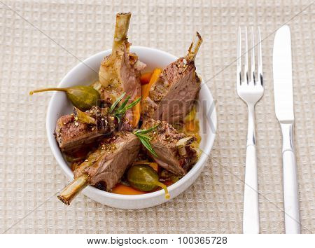 Rack Of Lamb With Carrot Onion And Capers
