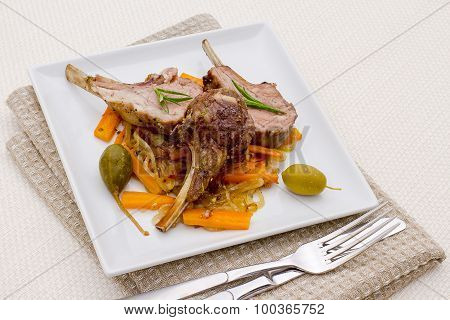 Grilled Rack Of Lamb With Olive, Capers And Carrot