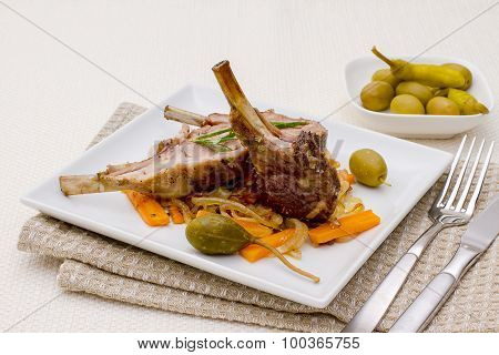 Grilled Racks Of Lamb With Olive And Capers