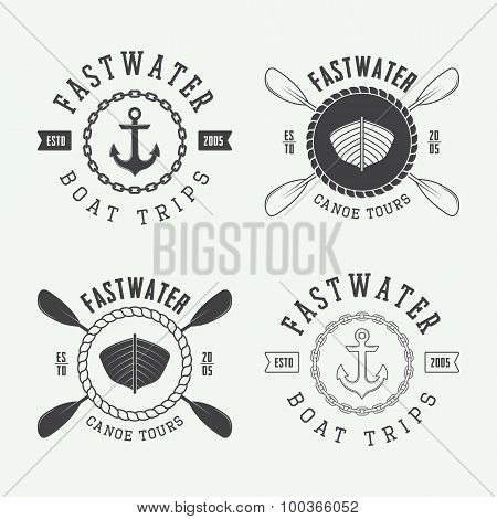 Set Of Vintage Rafting Logo, Labels And Badges.