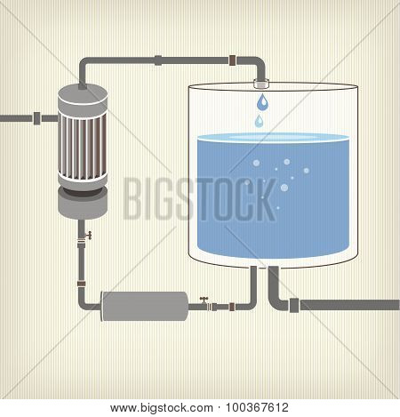 Infographics scheme with a liquid, a water tank