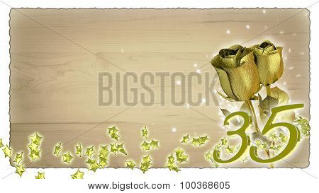birthday concept with golden roses and star particles - 35th