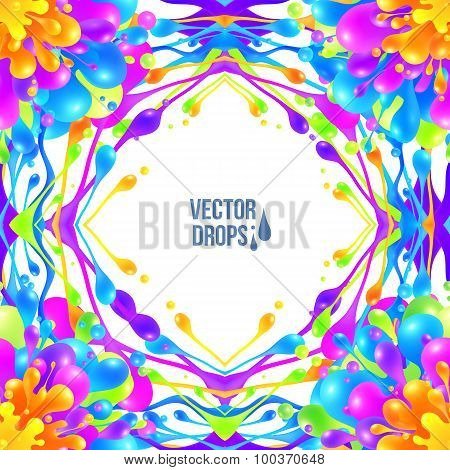 Vivid colors vector paint drops frame in seamless background