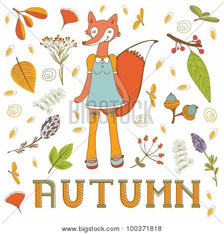 Autumn elegant card with cute fox character