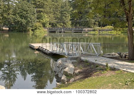 Pedestrian Ladder And Platform On A Lake.
