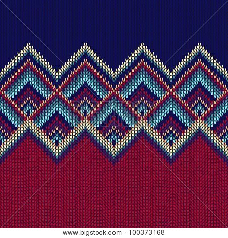 Seamless Pattern. Knit Woolen Trendy Ornament Texture. Fabric Co