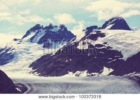 Salmon glacier in Stewart,Canada .Instagram filter.