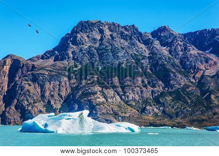 Argentina Patagonia, emerald water of the lake Viedma. Huge white-blue ice floe drifts from coastal glacier