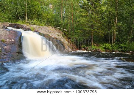 waterfall in forest - Karelia, Russia