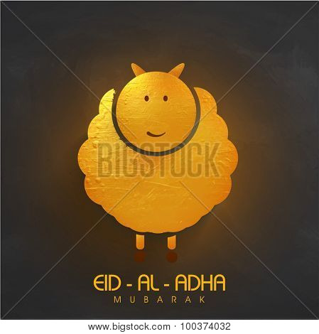 Creative golden goat on shiny background for Islamic Festival of Sacrifice, Eid-Al-Adha celebration.