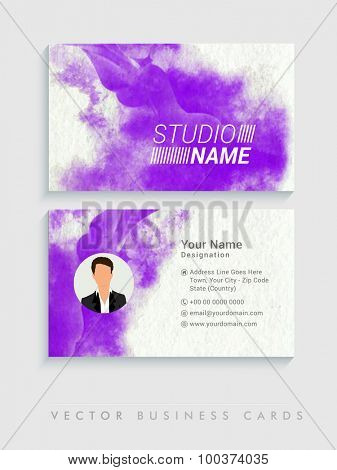 Front and back side presentation of creative professional business card set for Design Studio.