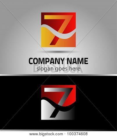 Symbol Number seven 7 logo icon template elements