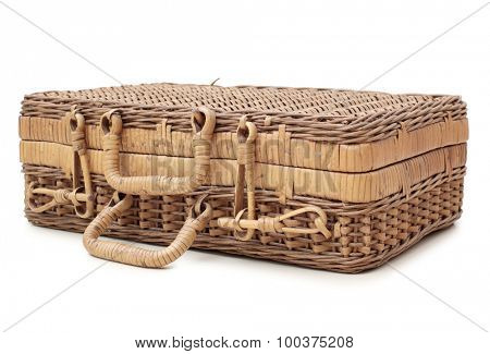 Old wooden suitcase on a white background