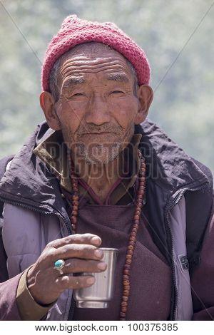 Tibetan Buddhist Old Men In Hemis Monastery. Ladakh, North India