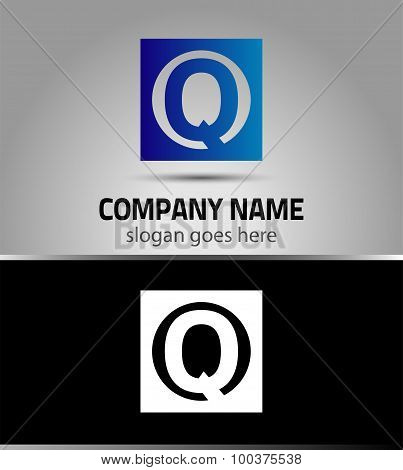 Vector illustration of abstract icons based on the letter Q logo
