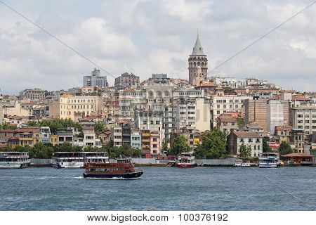 Galata Tower And Water Golden Horn. Istanbul, Turkey