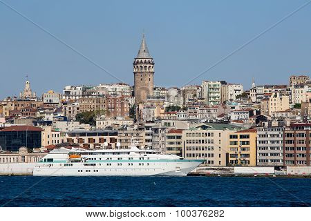Galata Tower And Water Golden Horn Bay. Istanbul, Turkey