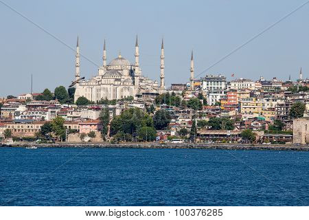 Blue Mosque And Istanbul, View From Bosphorus Strait. Turkey