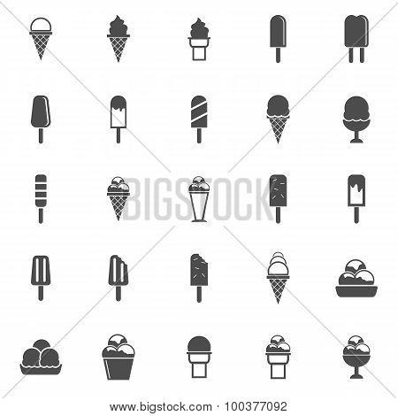 Ice Cream Icons On White Background